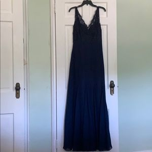 Navy Gown with Lace overlay and back